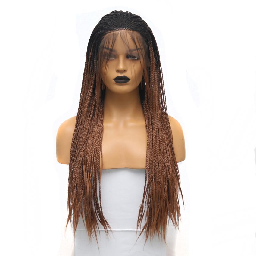 블랙 여성을위한 아기 머리와 어두운 뿌리 옹 브르 브라운 꼰 가발 내열 머리 긴 상자 꼰 가발 합성 레이스 프런트 가발