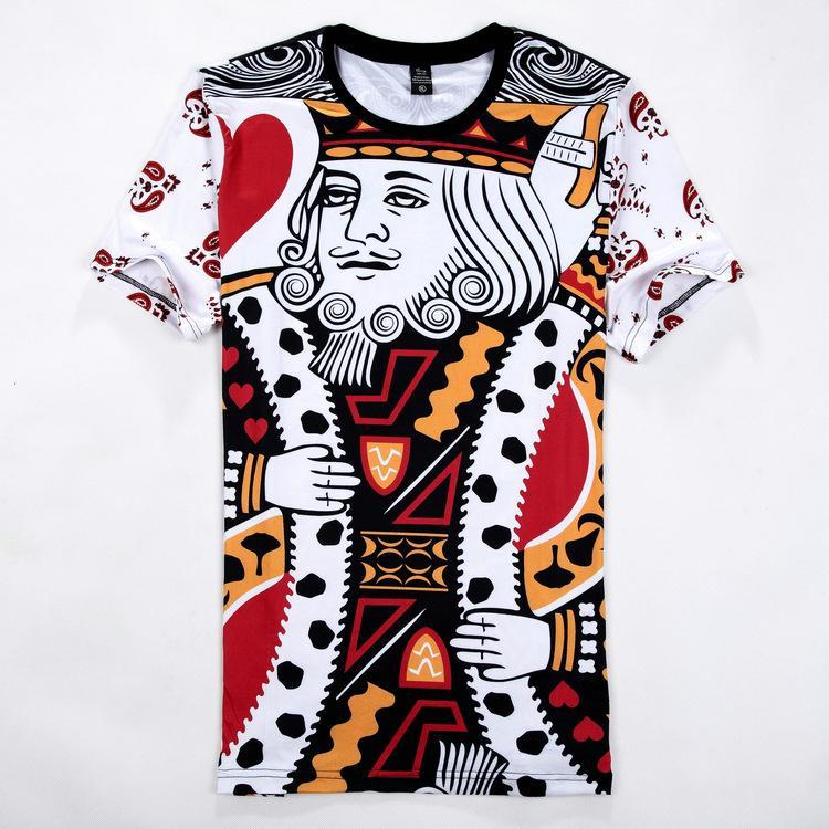 Summer Fashion King 3D Impreso Camisetas de manga corta O Cuello Camiseta informal Talla M-2XL