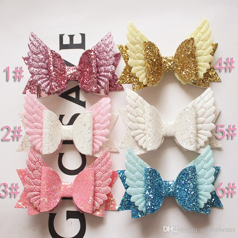 2019 new Glitter Fly Angle Wings Synthetic Leather Hair Bows Cute Kids Hair Clips Girls Hairpins Barrettes Headwear Headdress