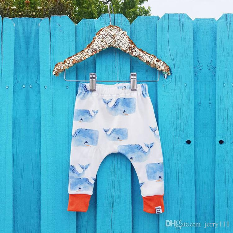 Summer kids clothing Cute Cartoons Fish Print boys ang girls pants Children whale trousers kids designer clothes JY393