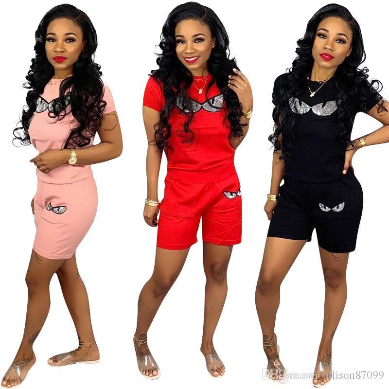 Women tracksuit Women Two Piece With the eyes Printing Sportswear Solid Large size Straight-leg pants short Sleeve shirt High elasticity