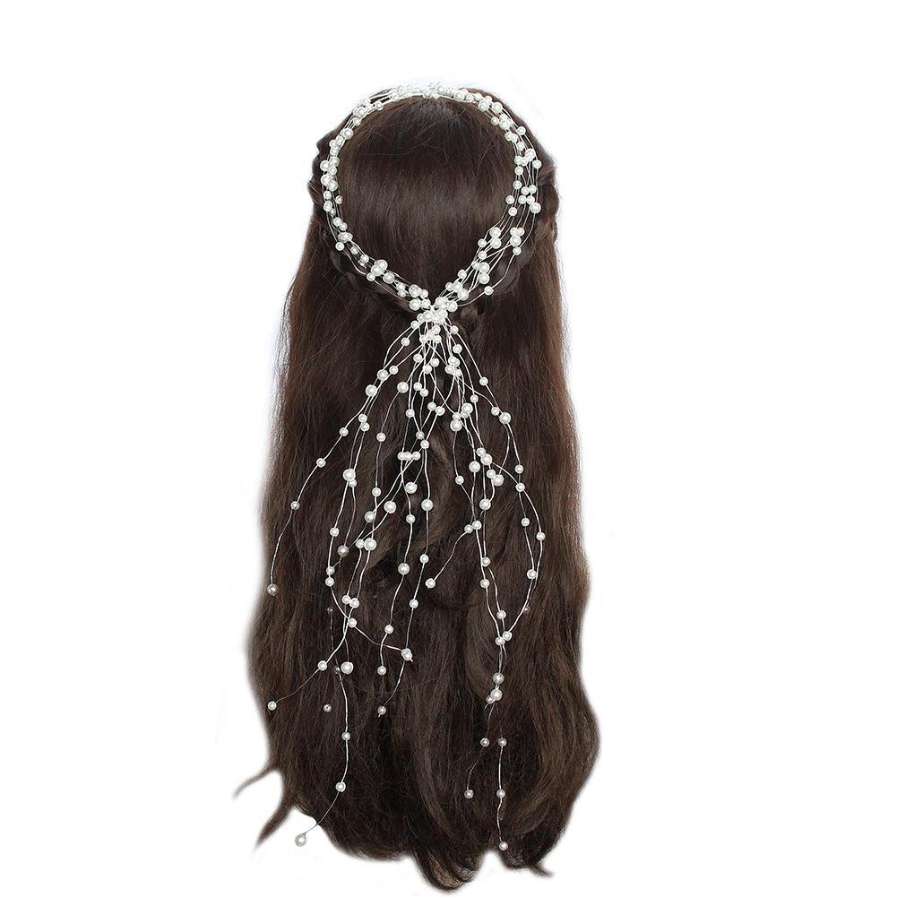 Nupcial Do Casamento de Noiva de Cristal Acessórios Para o Cabelo Pérola Flor Headband Handmade Hairband Beads Decoração Pente de Cabelo Para As Mulheres JCG158