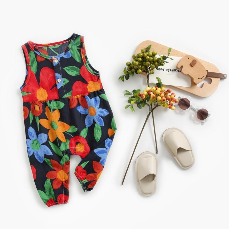 Moda Bebés Meninas Meninos Jumpsuit Pajama Cozy macacãozinho mangas Roupa florais recém-nascido miúdos criança Macacão