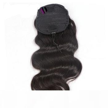 Горячие продавая человеческое хвостик волос виргинских бразильские волосы длинный свободный волнистой кулиска хвостик Extensinons 8 класс Бесплатной доставки 18inch # 1b 140g