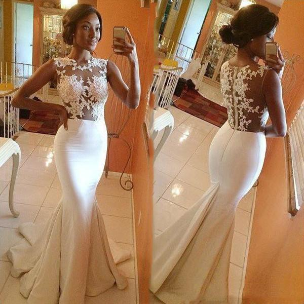2020 Sexy Mermaid Wedding Dress Appliques Sheer Bodice Lace Illusion Formal Bride Party Dress African Reception Gowns