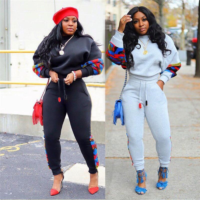 New Stylish Leopard Women Tracksuits Side Patchwork Leisure Hoodie Jogger Suits Outfits 20ss Women 2 Piece Sets