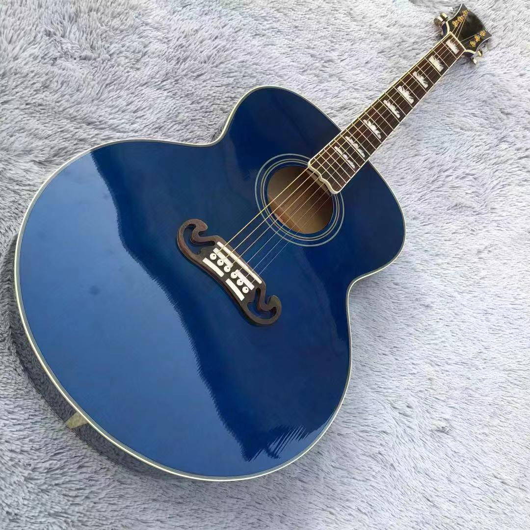43 inches, blue. Panel spruce, side back maple board. Rosewood inlaid fingerboard, free of freight.