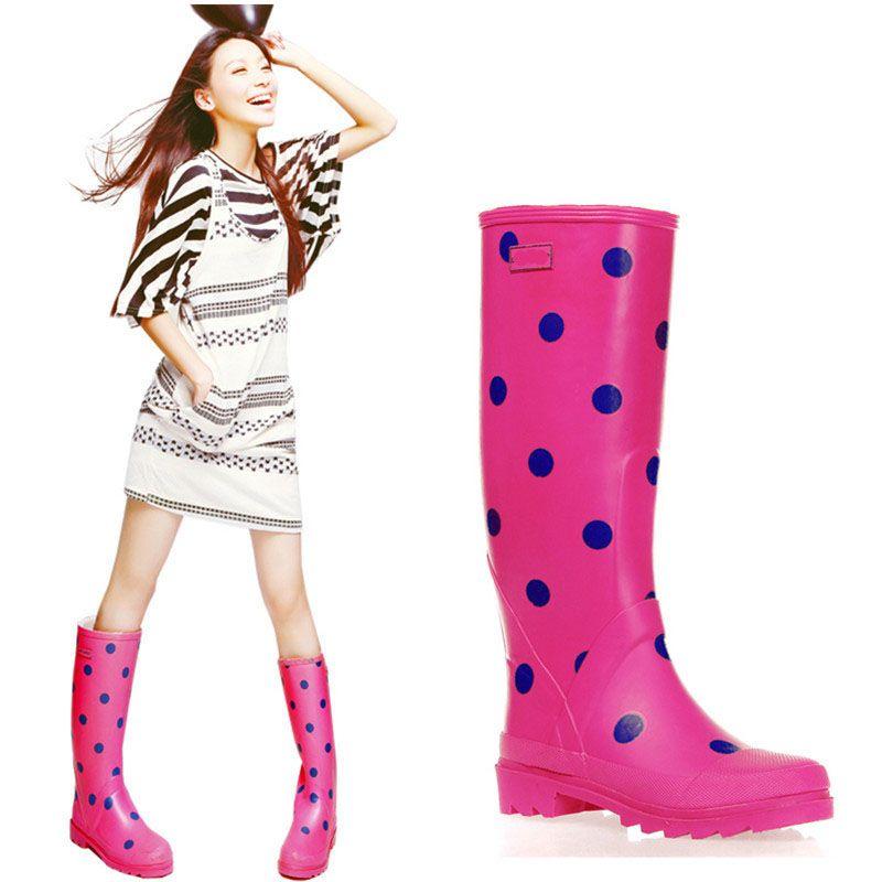 Venda quente-Polka Dot Alto Botas de Chuva Senhora Low Heels À Prova D 'Água Welly Spot Fivela de Alta Estilo Nubuck Rainboots 2016 Novo Design de Moda Mulheres Dot