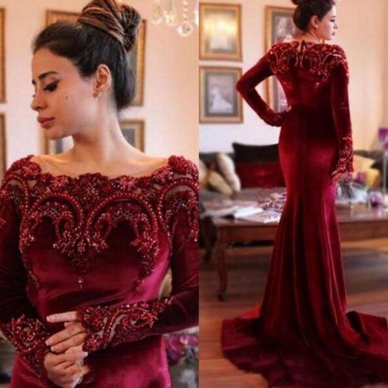 Robes de soirée d'hiver de luxe bourgogne velours sirène robes de soirée de bal à manches longues en dentelle perlée appliques robe formelle avec train