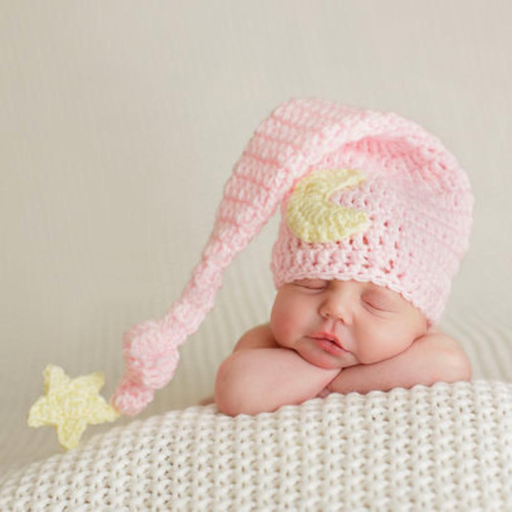 2017 طفل جميل الوردي القبعات اليدوية حديثي الولادة بيني زي ذيل طويل الكروشيه محبوك قبعة التصوير الدعائم ل 0-4months