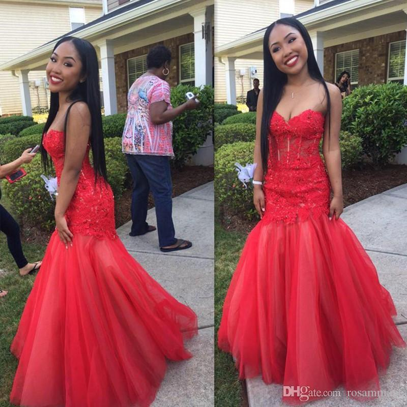 Sexy Indian Black Girls Red Appliques Lace Mermaid Prom Dresses Sweetheart Off Shoulder Sleeveless Long Party Formal Evening Dresses
