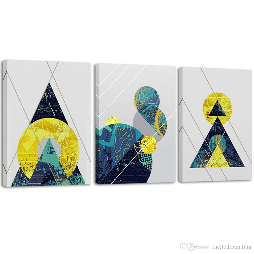 Peindre Triangle Sur Mur acheter 3 panneaux toile mur art abstrait géométrie peinture bleu or  moderne encadré photos pour salon chambre décor cadeau de 26,18 € du