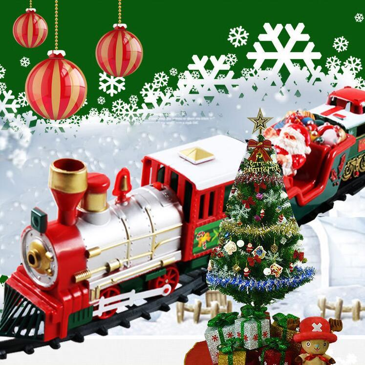 Christmas electric rail car small train toy, children's electric educational car toy