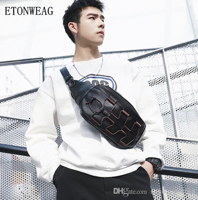 Factory wholesale men handbag original design new leather messenger bag street trend ribbon decoration men shoulder bag personalized leather