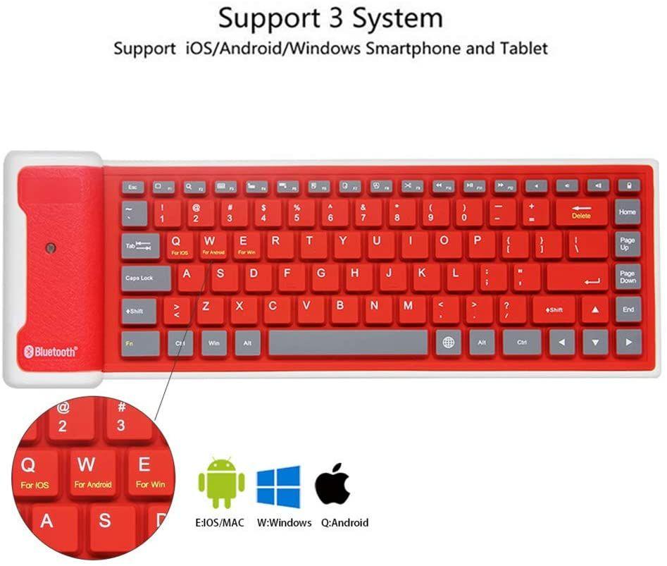 Mini teclado inalámbrico Bluetooth plegable silencioso Haga clic silicona suave impermeable adelgazan ruedan para arriba del teclado recargable para Smartphone Tablet