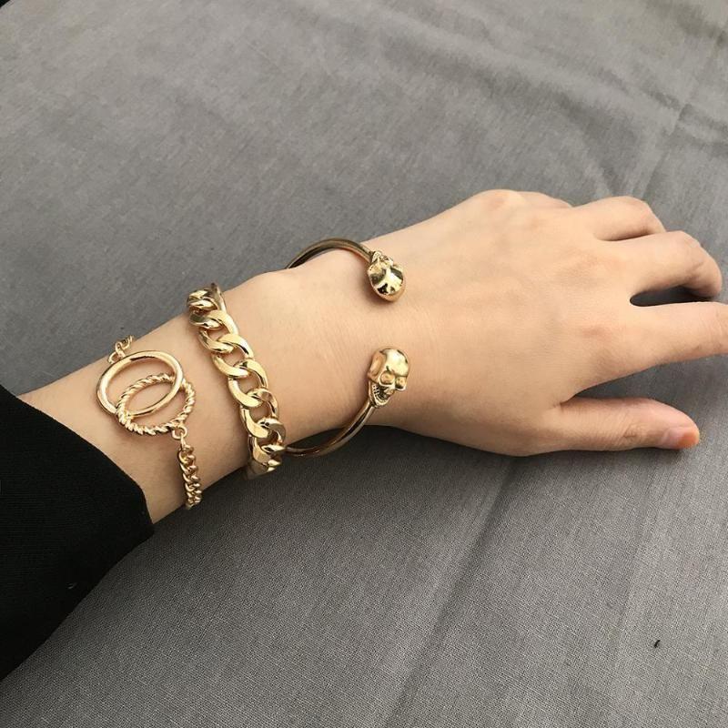 DE-LILU 3pcs de cadena de la manera punky esquelético del oro infinito abierto pulseras Conjunto de Mujeres 2020 Verano Nueva Charm Beach joyería regalo