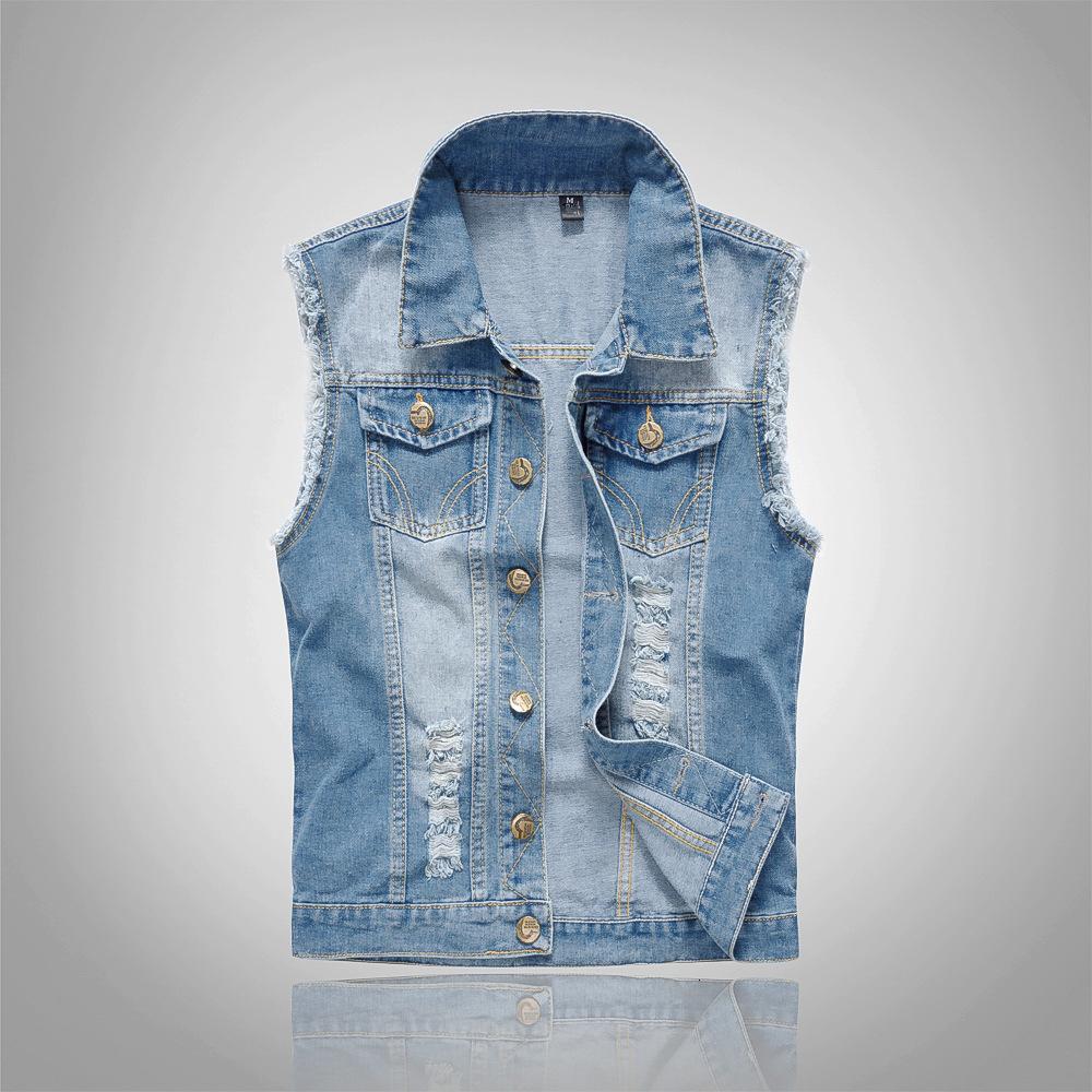 2018 algodón Jeans mangas de los hombres de la chaqueta más el tamaño 6XL azul marino Denim Jeans chaleco vaquero Denim Hombres Chaleco para hombre de las chaquetas S191019