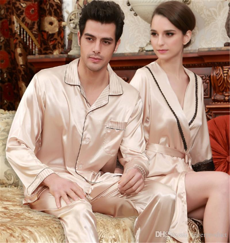 Couple Pajamas Spring And Summer New Simulation Silk Thin Section Pajamas Women Elegant Temperament Nightgown Two-piece