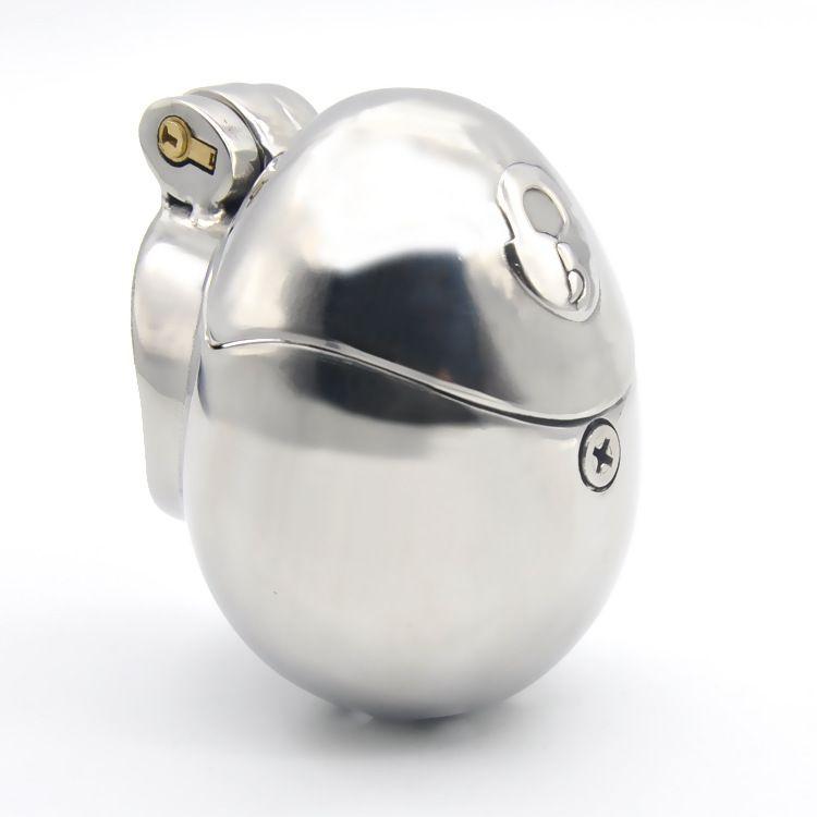 Nuevo huevo de acero inoxidable con cierre Cock jaula juguetes del sexo para los hombres del pene del anillo del martillo de la manga cierre macho Chastity Device Prevenir la masturbación SM