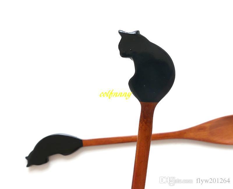 100pcs lot 21x3cm Lovely Cat Shape Wooden Spoon Ice Tea Wood Spoon Cake Coffee cream spoon tableware