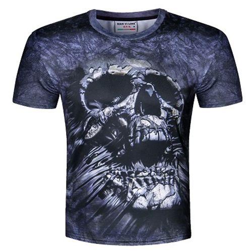 camicia dressing2020 America adattano Hip Hop T per l'estate degli uomini supera 3d t-shirt teschi stampa fiori tee shirts più il formato M-5XL