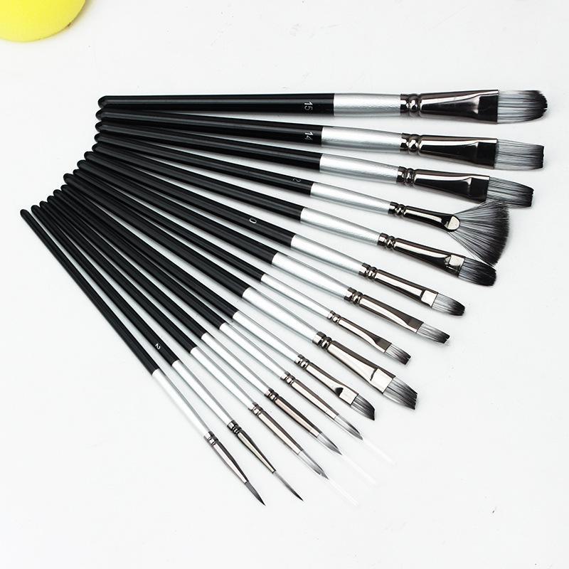 19 piezas pinceles de aceite ajustado de tela bolsa de pintura cepillo de abedul gris plata pluma protección del medio ambiente pintan el envío libre 01