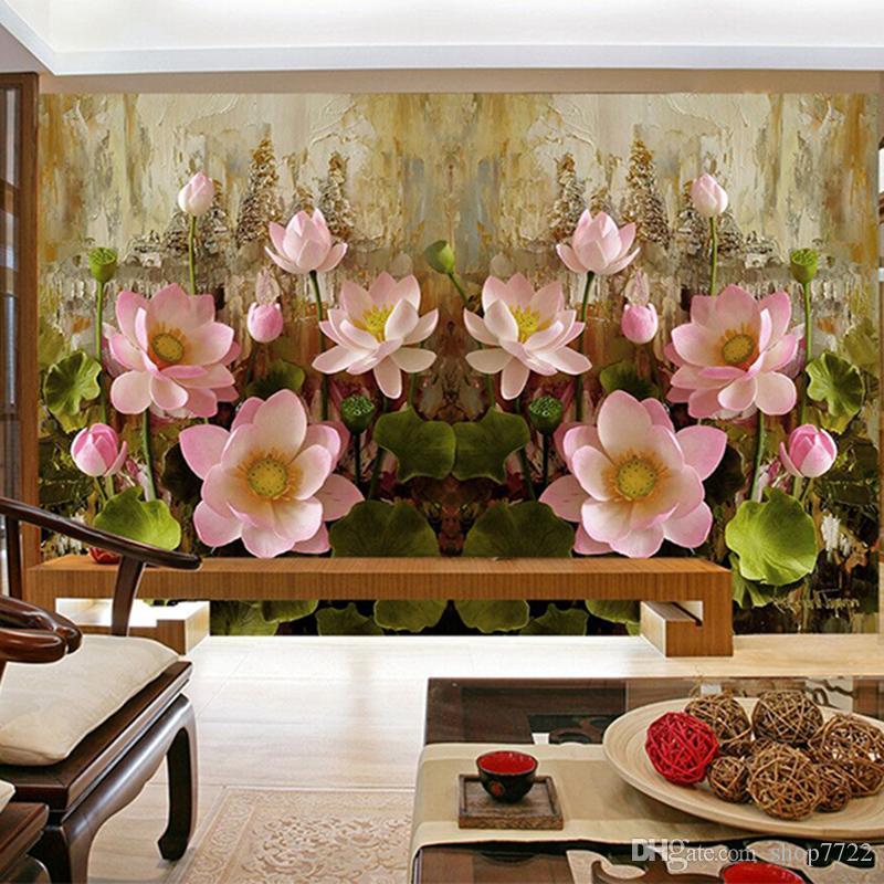 3D 양각 연꽃 월페이퍼 거실 입구 배경 사진 벽 종이 그림 홈 장식 벽 종이