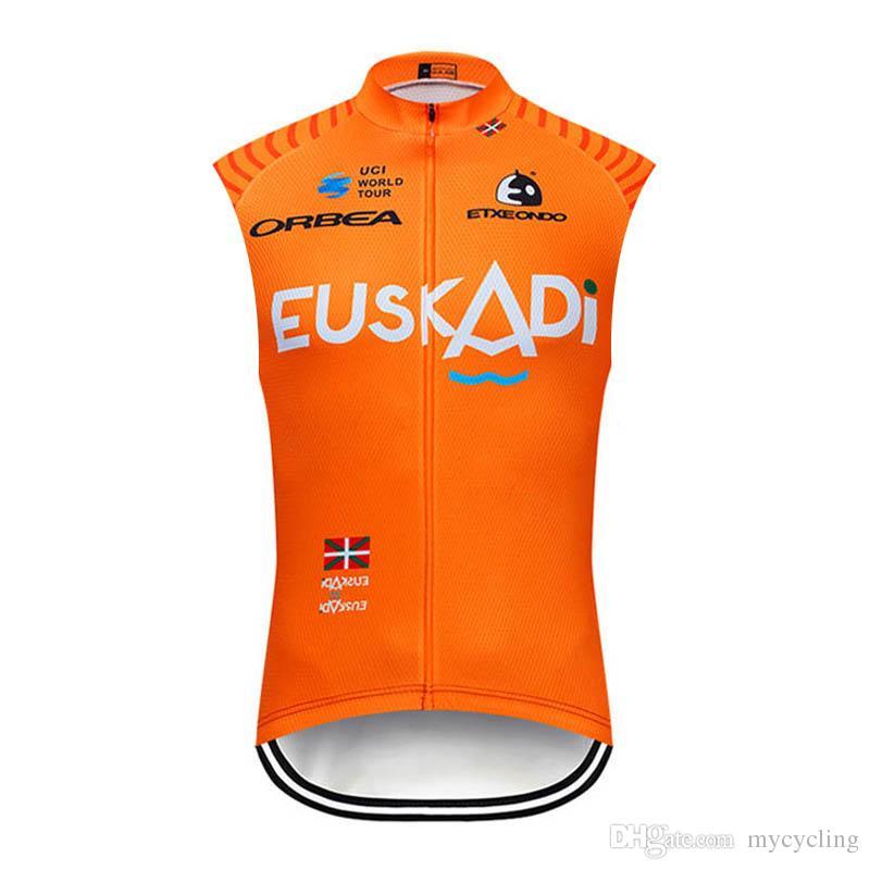 Vendita calda squadra Euskadi / EUROPCRA Mens maglia da ciclismo Estate gilet senza maniche da corsa abbigliamento bici Quick Dry strada bicicletta camicia Y032808