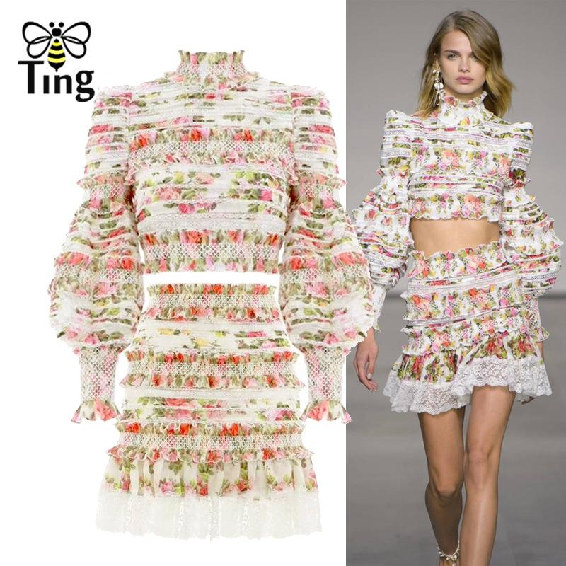 Tingfly Designer Runway Mulheres Two Pieces Define Floral Ruched Ruffles Top Curto Lace Patchwork Mini saia Casual Mulheres Define Chic