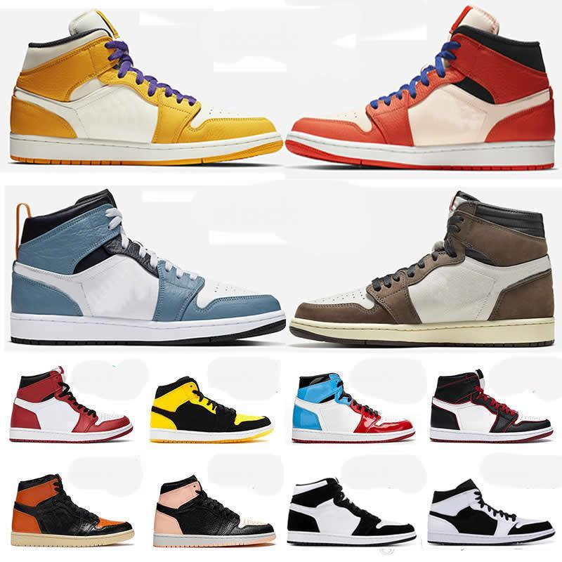 Jumpman 1s Mid Basketball Shoes Chicago Fearless Shattered Backboard Lakers Chicago OG TS SP Cactus Jack Gotta Shine Wheat Sneakers Trainers