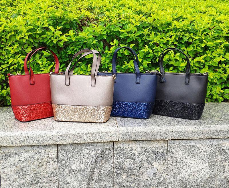 Markendesigner Frauen Glitzerhandtasche JunGui Schultertasche Umhängetaschen Handtaschen Totes Patchwork