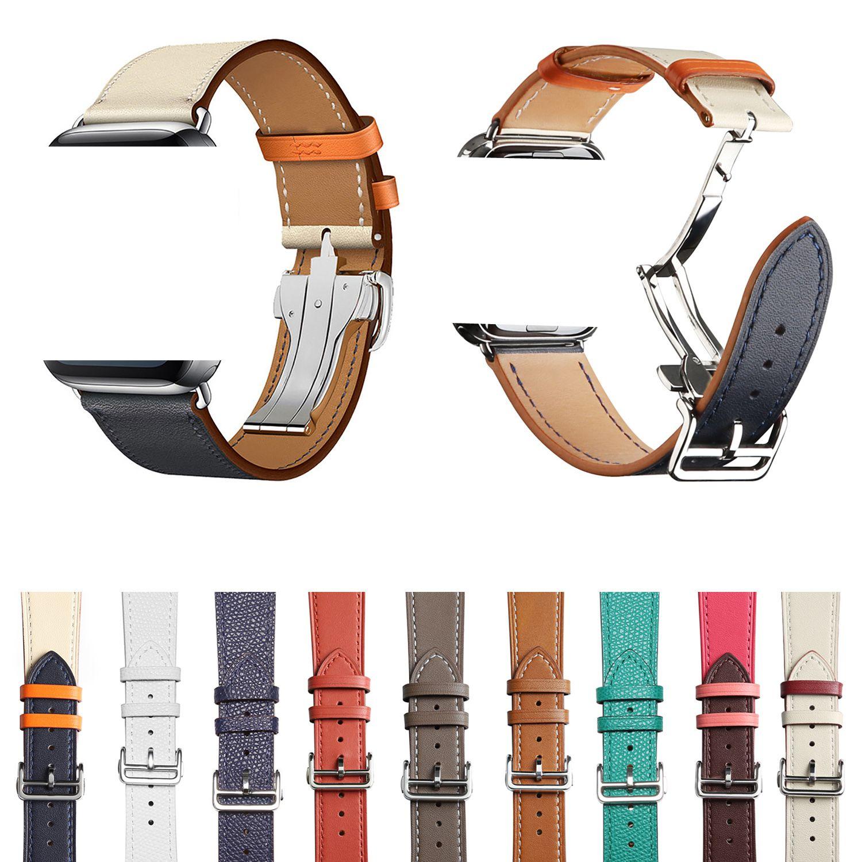 Lüks Kayış Watchband 38mm 40mm Katlanır Toka Gerçek Deri Bant Akıllı Sapanlar 42mm 44mm Watchband Bilezik Kemer