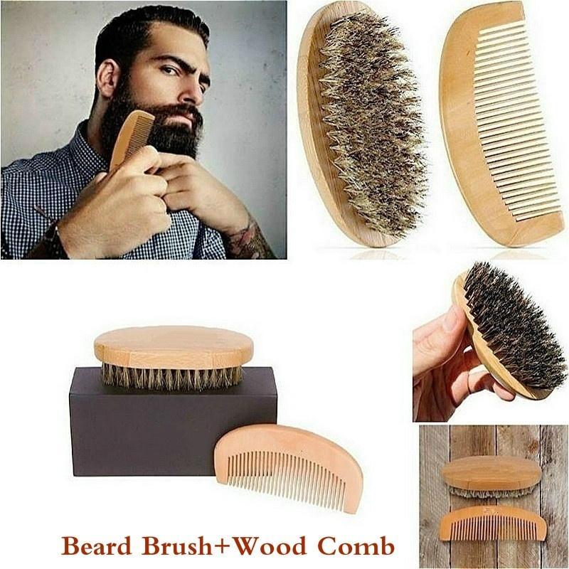 1 Set Men Natural Boar Bristle Beard Brusch And Sharb Comb Kit Handmade