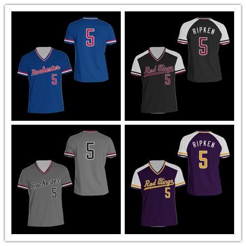 Cheap NCAA College Baseball Maglia C Ripken Jr 5 Rochester baseball Jersey Stitch Sewn Nuovi colori trasporto libero