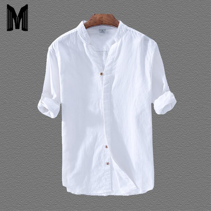 Pamuk Keten Günlük Gömlek Erkekler Temel Klasik Beyaz Hawaii Gömlek 2020 Bahar Erkek Uzun Kollu Standı Yaka Nefes İnce Y200407 Tops
