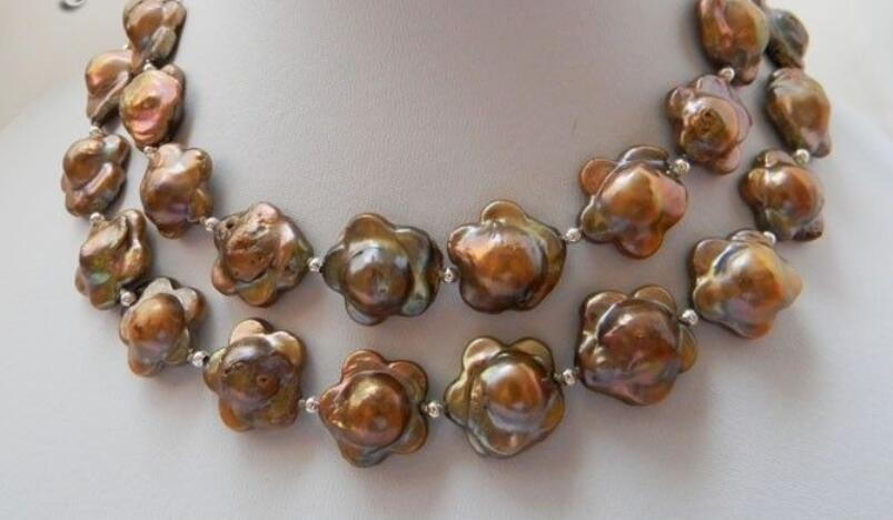 """28"""" 17MM Coffee Baroque Reborn Freshwater Pearl Necklace Earring Set"""
