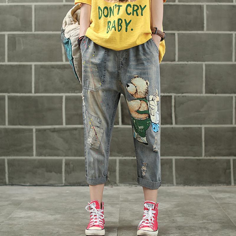 İlkbahar Yaz AZ30213018 için Kadınlar Jeans Denim Pantolon Koşucular Tatlı Sevimli Moda Günlük Uzun Büyük Gevşek Karikatür Baskı