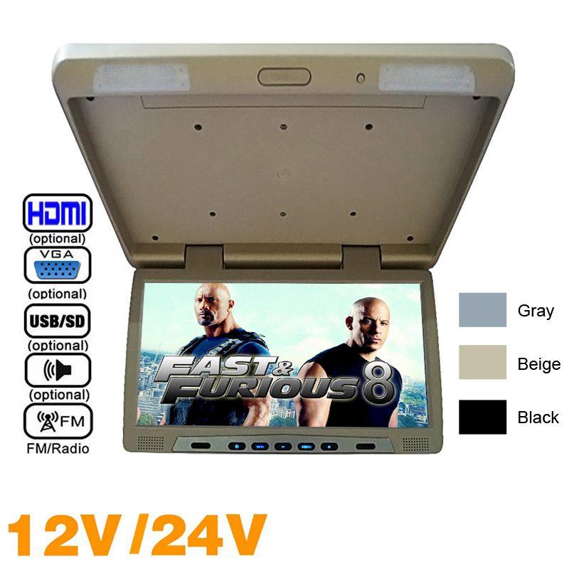 """3 цвета 20,1"""" ЖК монтируемые на крыше автобуса монитор автомобиля Bus ОТКИДНУЮ TFT ЖК-монитор с ИК-передатчик USB / MP5 FM спикер VGA 2-Way Video In # 1298"""