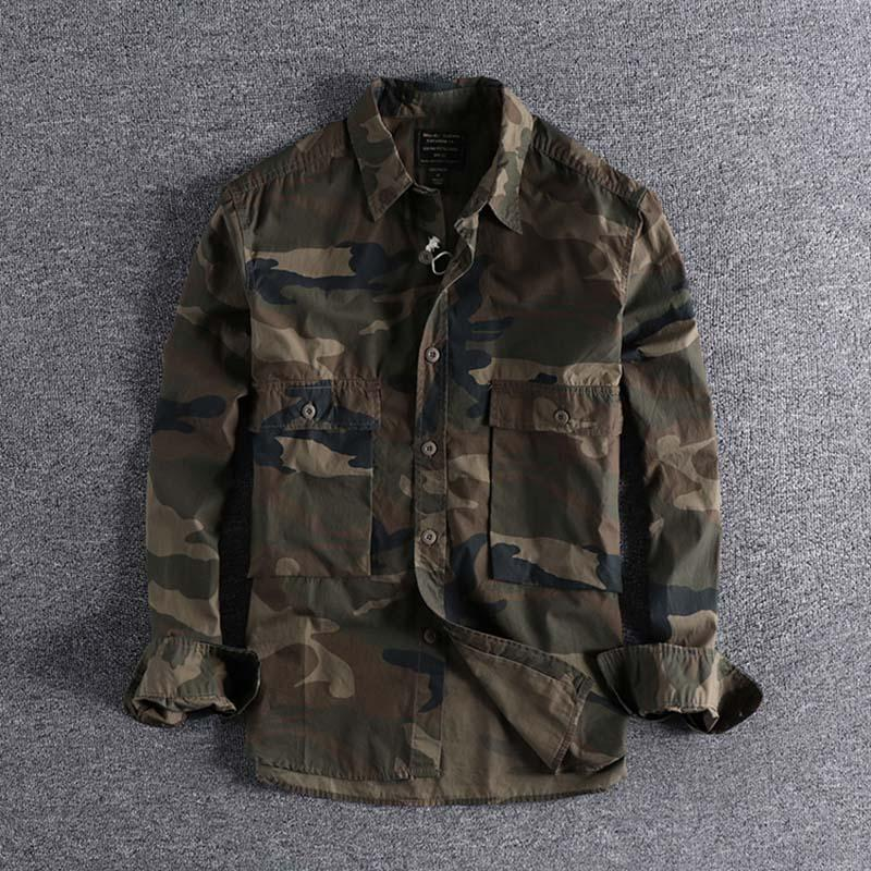 2020 autumn designer Fashion camouflage multi-pocket thin clothes men's casual long-sleeved shirt plus size cool clothes on sale