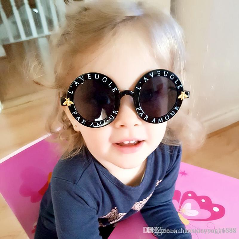 أزياء جولة Steampunk للأطفال نظارات العلامة التجارية مصمم النظارات الفاخرة الفتيات نظارات الأطفال النحل نظارات الشمس oculos دي سول