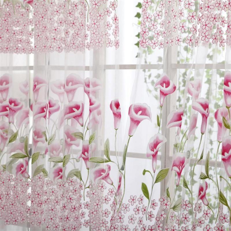 Gloire du matin Fenêtre Gaze Tulle 200 * 100CM Porte Transparente Drapé Tentures Floral Fille Chambre Textile Fenêtre D'écran De La Feuille # B30