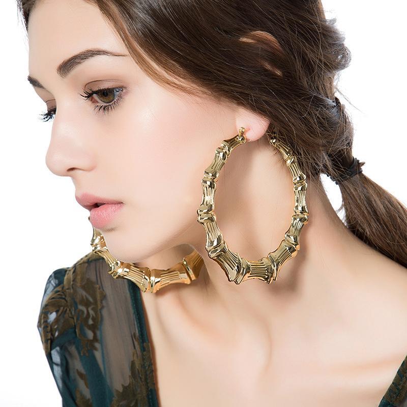 Pendientes redondos de la vendimia pendiente del aro Pendientes de bambú CWEEL para las mujeres grandes del punk Brincos color oro círculo geométrico de la estrella