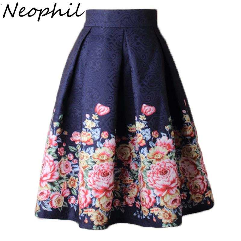 Neophil 2019 Ladies Jacquard Flower Print Pleated Ball Gown Skater Midi Skirts Womens Vintage Floral High Waist Saias S1532 Y19060301