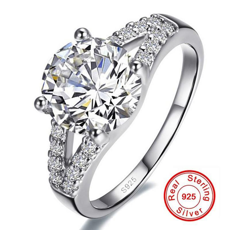 Real Solid Silver Wedding Rings For Women Inlay Sona 2 Carat CZ Diamond Engagement Ring 925 Sterling Silver Fine Jewelry R290