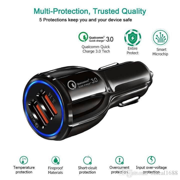 أعلى جودة QC 3.0 Fast Charge 3.1a Qualcomm Charge Charge Charger سيارة Dual USB شحن سريع شاحن الهاتف مع حقيبة OPP