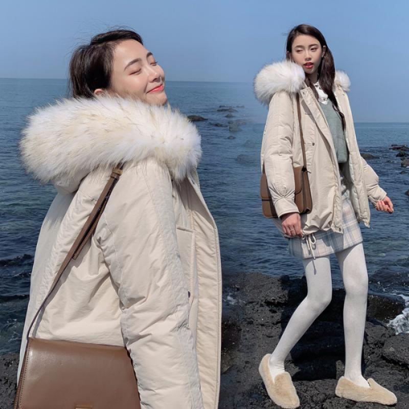 Women Hooded Jacket Fur Collar Down Cotton Coat Long Full Oversized Parkas Maxi
