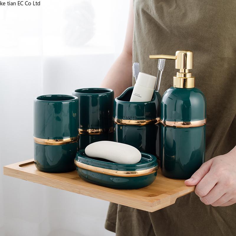 bagno di luce europea set di cinque pezzi vassoio da bagno in ceramica Set accessori lavaggio set di bambù
