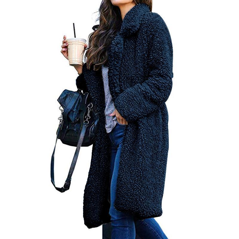 Casaco quente Moda Feminina Outwear streetwear 2019 Outono e Long Sweater Tamanho S-3XL atacado inverno lapela Fur Cardigan de mulheres