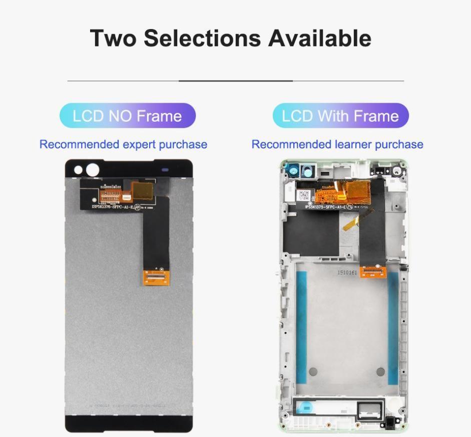 50pcs Panneaux de montage à écran tactile à écran LCD de haute qualité pour Sony Z2 Z3 Z4 Z5 Mini C3 C4 C5 Réparation et remplacement DHL