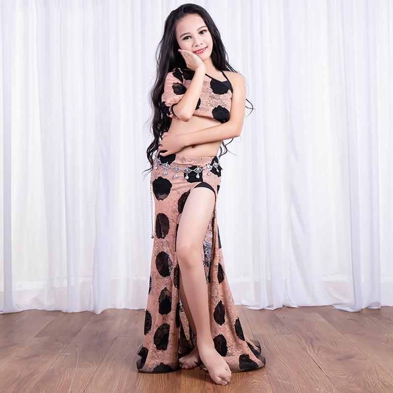Nova Impressão Rendas Oriental Trajes de Dança Crianças Meninas Traje de Dança Do Ventre Top + Vest + Saia 3 Peças de Desempenho Roupas DWY1052